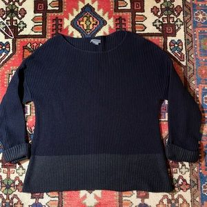 Vince Chunky Knit Navy cuffed cotton Sweater XL